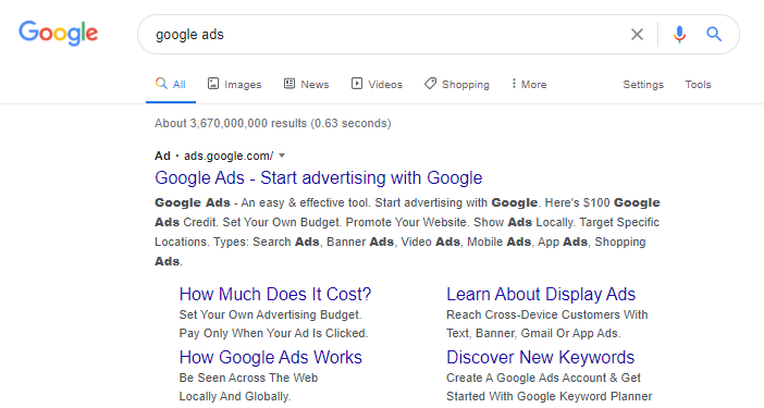 google ads search results page