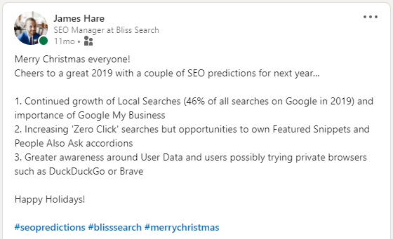 2020 SEO predictions on LinkedIn posted by James Hare, SEO Manager at Bliss Search